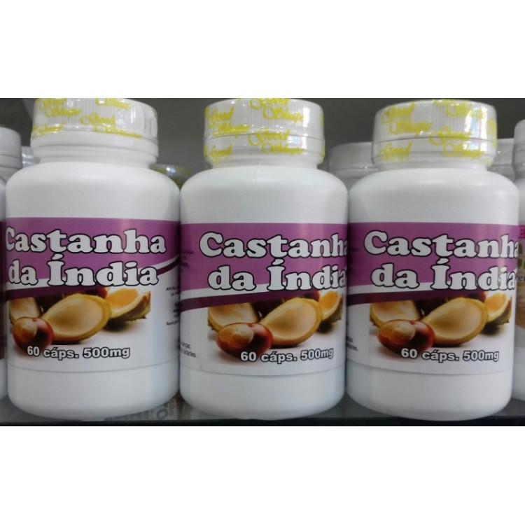 Castanha da Índia 500mg  kit 3 frascos c/60 cápsulas
