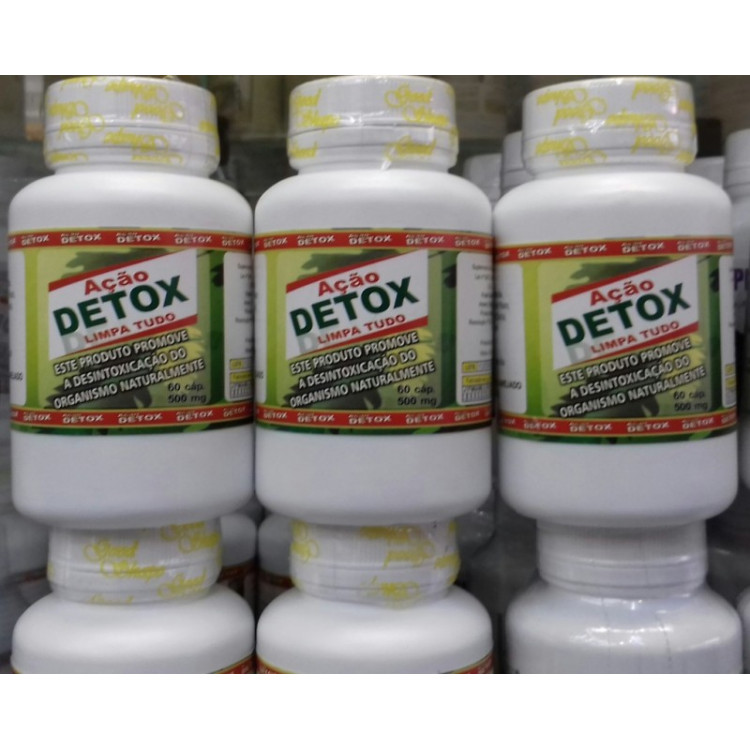 Ação Detox Limpa tudo  500mg kit 3 frascos c/60 Capsulas